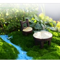Wholesale Resin Tables - 4pcs Vintage Table Chair Fairy Garden Decoration Home Decor Terrarium Figurines Miniatures Baison Tools Resin Craft Gnomes Home Accessories
