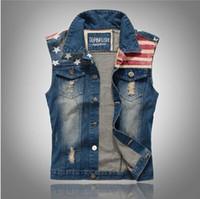 blauer mantel schlank großhandel-Männer Jean Westen Klassische Vintage leeveless Lässige Mode Flagge Denim Blue Jeans Mäntel Kleidung für Männer Herbst Sommer Tops Schlanke Weste