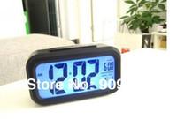grandes relojes de plata al por mayor-Snooze / Light Large LCD Digital Backlight Alarm Clock Negro y plata de alta calidad del envío gratis