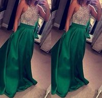 Wholesale Red Special Occassion Dresses - Green Sexy Backless Halter Prom Dress with Pockets Royal Blue Satin A Line Floor Length Special Occassion Evening Party Gown