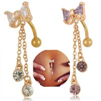 Wholesale Navel Ring Bowknot - 6 Styles Gold Silver Plated Dangle Bowknot Flowers Leaves Owl Crystal Navel Belly Button Rings Sexy Body Piercing Navel Ring Jewelry