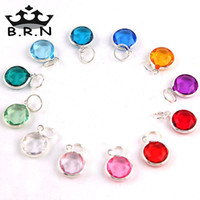 Wholesale 100pcs Hot Sale Colors Mixed Silver Plated Acrylic Birthstone Crystal Charms fit for Expandable Bracelets for Women