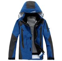 ingrosso abiti in gomma per gli uomini-Gomma sportiva di alta qualità da uomo sportiva all'aperto da alpinismo usura 2 in 1 giacca da sci in pile tuta impermeabile a due pezzi