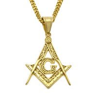 Wholesale Long 24k Gold Filled Chain - 24k gold plated free mason pendant with 24 inch long cuban chain hip hop necklace unisex jewelry