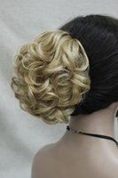 Wholesale Claw Blonde Hair Clips - Wholesale-Fashion Women's golden blonde Synthetic short Curly Wavy Claw Clip Ponytail Pony Tail Hair Extension hairpiece free shipping