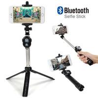 mini controlador para android al por mayor-Plegable Mini Selfie Stick Self Bluetooth Selfie Stick + Trípode + Control remoto de obturador Bluetooth para iPhone Android con caja de venta