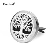 Wholesale Fireplace Gifts - Car stainless steel aroma padlock 316L wholesale 30MM tree of life essential oil car diffuser fireplace magnetic car door locks