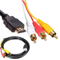 Wholesale rca video lead online - NEW Feet P HDTV HDMI Male to RCA Audio Video AV Cable Cord Adapter Converter Connector Component Cable Lead For HDTV