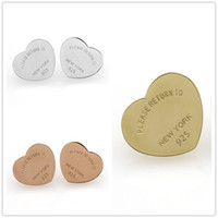 Wholesale Gold Heart Shaped Stud Earrings - High Quality Classic Brand English Letters Heart Shaped Titanium Steel Gold Silver Stud Earrings For Women Jewelry