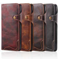 Wholesale Natural Leather Bags - For iPhone 6 6S 7 Plus 7Plus Natural Real Genuine Leather Wallet Case Phone Sleeve Bag Retro Vintage Flip Cover With Strip Clasp
