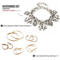 Wholesale Accessories Jewelry Set Pack of Items One Silver Elephant Anklet Charm Bracelet Textured Hoop Earrings Set