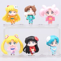 6pcs set Anime Cartoon Sailor Moon Mars Jupiter Venus Mercury Q Versione Action PVC Figure Giocattoli di modello Dolls