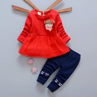 Wholesale blue dress suit kids - New kids clothes 2017 Autumn girl sweater dress+leggings set 2 pieces children long sleeve cotton clothes suit 4s l