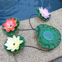 Wholesale Garden Lighted Fountains - Floating Pool Light Garden Pool Floating Lotus Solar Light Night Flower Lamp for Pond Fountain Decoration Solar Lamps