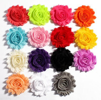 Wholesale Shabby Chiffon Rosette - (150pcs lot)6.5cm 15 Colors DIY Shabby Chiffon Flower Girl Baby Hair Infant Hairband Handmade Rosettes Frayed Headband Accessory T5007
