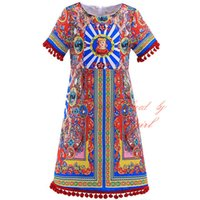 Wholesale Italy Girl Dress - Hot Selling Pettigirl Italy Flavor Dresses For Girls With Colorful Patterns Print Retro Style Short Sleeves A-Line Kids Wear GD90325-727F
