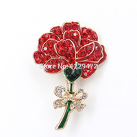 Wholesale Gold Carnation - Wholesale- Fashionable Enamel Crystal Rhinestone Red Carnation Flower Bowknot Brooch Pin Gold Women Dress Wedding Bridal Brooches &Pins