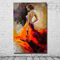 peinture abstraite de filles modernes achat en gros de-Peint à la main belle dame peinture à l'huile moderne salon décoration murale peinture sur toile abstraite fille art non encadrée