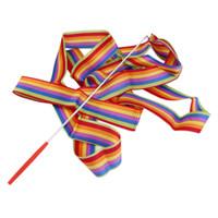 ruban de gymnastique rythmique de 4 m achat en gros de-1 pc 4 M Universal Gym Danse Ruban Art Rythmique Gymnastique Streamer Twirling Rod Stick Dance Performace Accessoires livraison gratuite