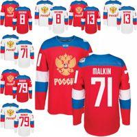 Wholesale russia hockey - Men's Russia 8 Alex Ovechkin 13 Pavel Datsyuk 71 Evgeni Malkin 79 Andrei Markov Hockey Red 2016 World Cup of Hockey Jersey