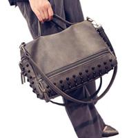 Wholesale Black Studded Messenger Bag - 2016 New Women patchwork Rivet Studded Shoulder bag Messenger Bag Bolsas Femininas woman bag handbag fashion handbags