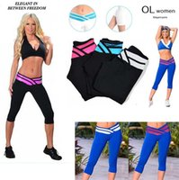 Wholesale Sexy Sporty Girls - New 2016 Hot Fashion sexy Sporty Legging Women Lady Girl Sport 3 4 pants High Elastic Stretch Fitness Leggings 2722