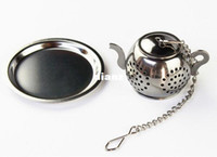 Wholesale Wholesale Teapots Accessories - MINI Cute Stainless Steel Tea Infuser Pendant Design Home Office Tea Strainer Gift Teapot Type Creative Tea Accessories