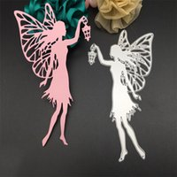 Wholesale Cut Lamp - Lovely Fairy With Lamp Metal Cutting Dies Stencil for DIY Scrapbooking Photo Album Paper Card Creation Gift Decoration Embossing Folder