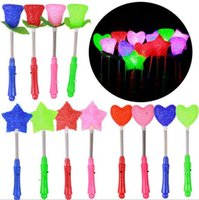 Wholesale Glow Led Toys Rose - Flashing Light Novelty LED Glow Star Wand Mixed Rose Heart Shaped Stick Concert Party Led Toys