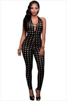 Wholesale Halter Jumpsuit One Piece - Sexy Halter Deep V-neck Backless Plaid Bodycon Rompers Womens Jumpsuits Sleeveless Hollow Out Bandage Skinny One Piece Pants