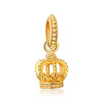 pulseras pandora imitación encantos al por mayor-14 K chapado en oro de la corona imperial de alta joyería de imitación de aleación de los granos europeos Fit Pandora DIY pulsera de cadena de la serpiente