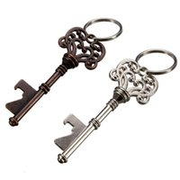 Wholesale Vintage Antique Bottles - Wholesale Vintage Key Bottle Opener Antique Key Metal Beer Opener Bronze Skeleton Keychain Bottle Openers Wedding Favor 100PCS free DHL