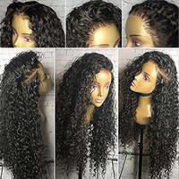 parte natural encaje completo al por mayor-Parte libre de encaje lleno pelucas de cabello humano con pelo de bebé 9A natural rayita rizada brasileña virgen del cordón del frente pelucas para mujeres negras