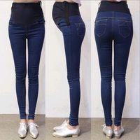 maternidade roupas jeans venda por atacado-Primavera Outono Denim Maternidade Jeans Calças de Barriga Roupas para Mulheres Grávidas Cintura Lápis Ajustável Gravidez Calças Desgaste