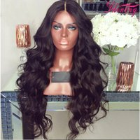 Wholesale Wig Wavy - 9A Full Lace Wig With Baby Hair Body Wave Brazilian Virgin Lace Front Human Hair Wigs For Black Women Wet Wavy Wigs
