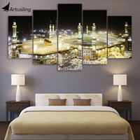 Wholesale Islamic Art Prints - HD Printed 5 Piece canvas Art Islamic Churches Paintings Mosque Wall Pictures for Living Room Decor Free Shipping CU-1724A