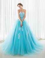Wholesale Grand Gowns - 2016 New Quinceanera Dresses Blue Sweetheart Lace Appliqued Sexy Sweet 16 Dress Plus Size Prom Grand Eleagnt Style Performance dress