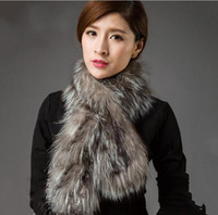 Wholesale real steal - Women Fur Scarf 2016 New Arrive Fashion Winter Warm Genuine Black Knitted Real Silver Fox Fur Scarf Long Collar female stole