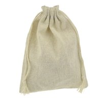 Wholesale Raw Cotton and Linen muslin Drawstring pouch Storage Packaging sack Bag with string For Gift Jewelry wedding Favor bomboniera Candy