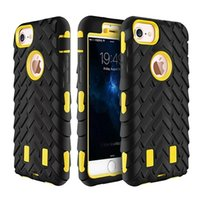 Robot Tire Hard Shockproof Case pour iphone X / 8/7 / Plus / 6 6S / SE 5 5S Tire Rough Rugged Hybrid Cover Dual 2in1 Plastic + Silicone Armor Defender
