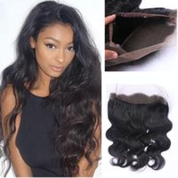 Wholesale Lace Hair Bands For Women - New Fashion Body Wave 360 Full Lace Frontal Peruvian Human Hair Lace Frontal Bleached knots 360 Lace Band Frontal Closure For Black Woman