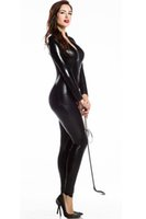 Wholesale Sexy Leather Pvc Bondage - Sexy Women Faux Leather Metallic PVC Fetish Gothic Catsuit & Bodysuit Wetlook Latex Jumpsuit Bondage Harness Costumes