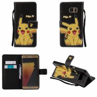 Wholesale Lovely Iphone Wallet Cases - For IPhone 7 Iphone7 4.7 Plus 5.5 Pikachu Poke Wallet Leather Galaxy Note7 Note 7 Cartoon Monster Cute Holder Flip Lovely Cover Pouch+Strap