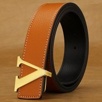 Wholesale Leather Belts For Women Wholesale - Wholesale-2016 New Genuine Leather Designer Mens Belts Luxury Belts For Men Women High Quality Brand Belt Gold Buckle Ceinture Homme