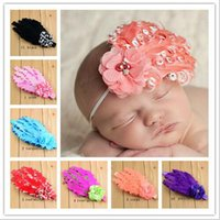 Wholesale Photography Ornament - New Baby girls feather Headbands Chiffon Flower Pearl Ornaments hairbands Kids Children headwear hair accessories photography props KHA403