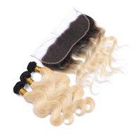 koyu köklü malezya tüyü toptan satış-Dantel Frontal Kapatma Ile Malezya Sarışın Saç Örgü 3 Demetleri 1B / 613 Koyu Kök Tam Dantel Cepheler Ile Ombre Vücut Dalga Saç Uzantıları