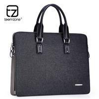 Wholesale Teemzone Bags - Wholesale- teemzone Luxury Mens Genuine Leather Briefcases 14'' Laptop Briefcase Business Zipper Brown Black Handbag Soft Cowhide Bag T0793