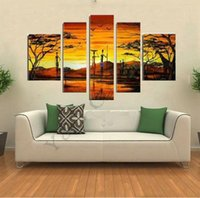 Wholesale Tree Africa - Tree Oil Painting 5pcs On Canvas High Quality Rural Africa Modern Giraffe Wall Picture For Living Room Abstract Home Decoration