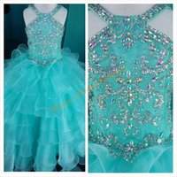 Wholesale beautiful girl photos - 2016 Beautiful Girls Pageant Dresses with Halter Neck and Tiered Skirt Real Pictures Beaded Crystals Organza Ball Gown Girls Birthday Gowns