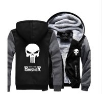 Wholesale Skull Hooded - Wholesale-New Winter Warm The Punisher Hoodies Anime skull Hooded Coat Thick Zipper men cardigan Jacket Sweatshirt Hot Sale